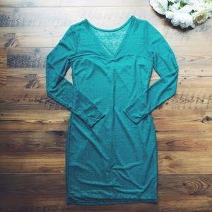 Turquoise long sleeve mini dress